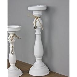 Portavelas, 27x 12cm, madera, diseño de corazón, plateado, tamaño pequeño, color blanco, madera, blanco, tamaño