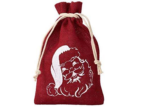 Organzabeutel24 | 1 Jutebeutel, Jutesack, Grösse 100x60 cm mit Weihnachtsmann Motiv, Nikolaus, Geschenkverpackung, Weihnachten, Santa Claus, Advent, Weihnachtsfest (Rot/Weiss)