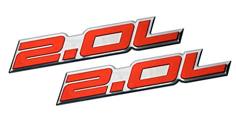 2 x (pair/Set) 2.0L Liter Embossed RED on Highly Polished Silver Real Aluminum Auto Emblem Badge Nameplate for Ford Edge Escape SEL Escort Explorer Focus SE SES ZX3 ZX4-SE ST SVT Fusion Transit XL XLT Dodge Colt Ram 50 Dart Rallye SE Aero Caliber SE Express Neon ES SXT Avenger Intrepid Plymouth Laser Neon Jeep Patriot Latitude 4WD Compass VVT DOHC Chevrolet Chevy Cobalt HHR SS Tracker LSi Malibu LTZ Sedan coupe 2 3 4 5 2dr 3dr 4dr 5dr door hatchback turbo turbocharged