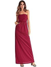 ccdf054e2 Antaina Vestido de Playa Larga Maxi Mujeres de Color Rojo Coctel Puro Hombro