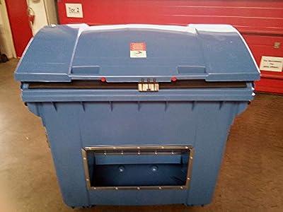 Streugutbehälter 1100 Liter, blau, Kunststoff, mit Runddeckel, BxTxH 1365x1060x1150 mm, Aufnahme für Kammschüttung