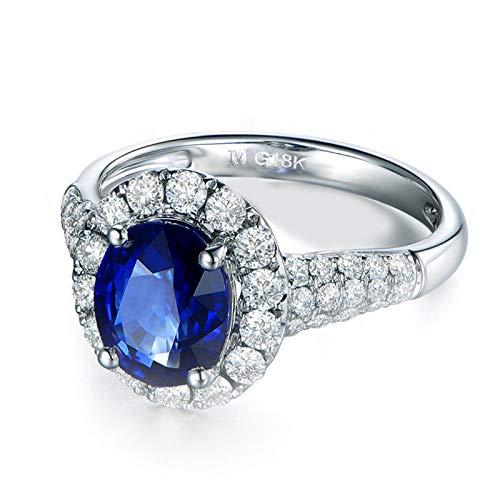 Anello Fidanzamento Donna Argento 925 Blu Zirconi Anello per Promessa di Matrimonio Misura 17