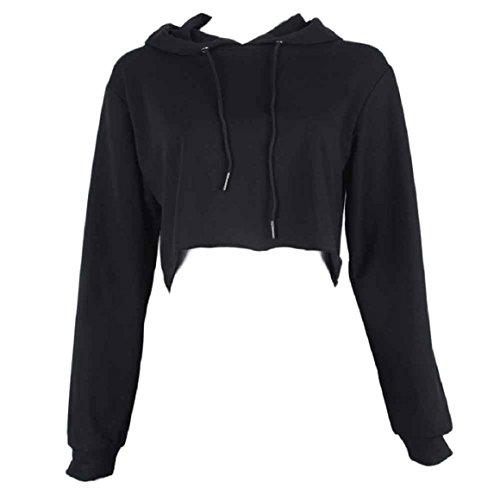 OVERDOSE Damen Hoodie Pullover Strickjacke Crop Top Coat Sport Pullover Tops (S, Schwarz)