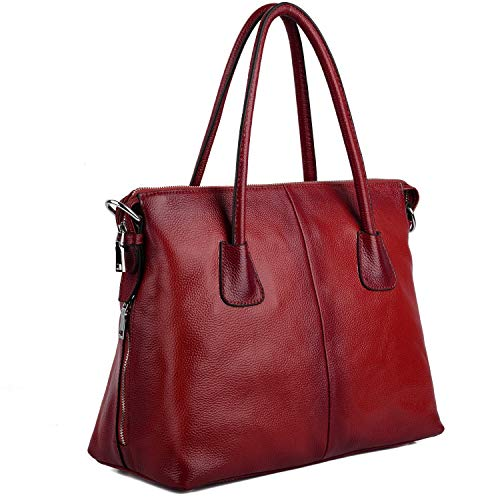 Yaluxe Damen Vintage Style Soft Leder Satchel Purse Shopper gross Schultertasche passt 13 Zoll Laptop rot -