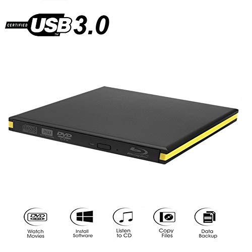 QinLL Externes Blu-Ray-Laufwerk USB 3.0 Blu-Ray-Brenner BD-RE CD/DVD-RW-Brenner Wiedergabe von 3D-Blu-Ray-Discs für PC/Laptop, BC,A
