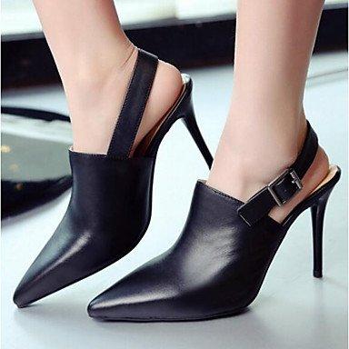 pwne Donna Comfort Tacchi Pu Molla Casual Stiletto Heel Bianco Nero 4A-4 3/4In US5 / EU35 / UK3 / CN34