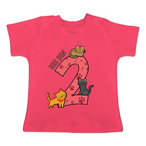 Geburtstag Baby - 2. Geburtstag Katzen - 18-24 Monate - Fuchsia - BZ02 - Baby T-Shirt Kurzarm