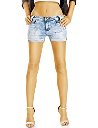 Bestyledberlin Damen Jeans Shorts, Acid Wash Mini Hotpants, Zerrissene kurze Hosen j59f