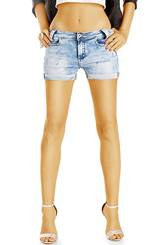 Bestyledberlin Damen Jeans Shorts, Acid Wash Mini Hotpants, Zerrissene kurze Hosen j59f 38/M (Kurze Damen Jeans-shorts)