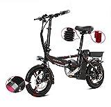 TX Elektrisches Fahrrad Falten Kleiner Roller Aluminiumlegierung mit intelligentem Messgerät, Telefon aufladbar, 80-100km,Black