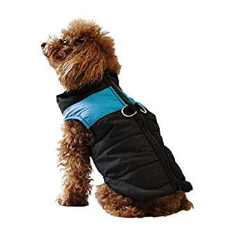 ubest Dog Coat Waterproof with D-Ring Warm Padded Puffer Vest Blue Small 24
