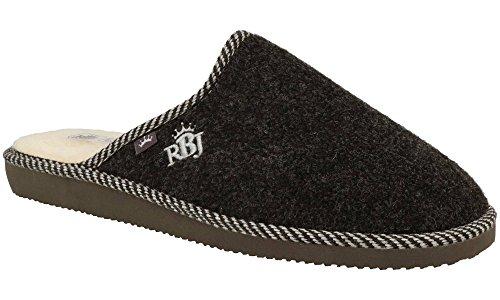 RBJ Pantofole Da Uomo Calzature Adulto Inverno Autunno Pelle di Pecora 100% Eleganti Lussuose Morbide Confezione Regalo Nero 906