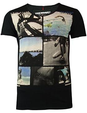 trueprodigy Casual Hombre marca Camiseta estampado ropa retro vintage rock vestir moda cuello V manga corta slim...