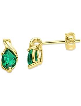 Miore Damen-Ohrstecker 375 Gelbgold Smaragd grün Tropfenschliff