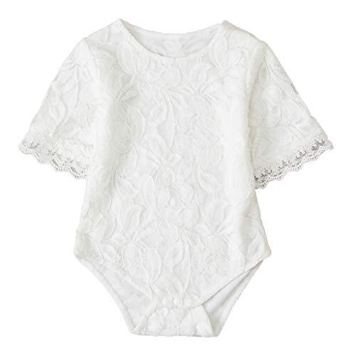 Geburtstag Mädchen Cap Sleeve T-shirt (Zegeey Baby MäDchen Kleinkind Strampler Spitzen Einfarbig Bodysuit Short Sleeve Blusen Kleidung Jumpsuit Geburtstag Geschenk(Weiß,66))
