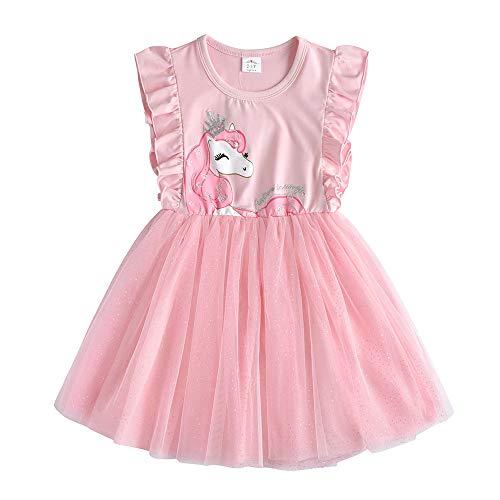 VIKITA Mädchen Prinzessin Kleider Baumwolle Tüll Festzug Party Hochzeit Kleid Gr.86-128 SH4579 5T (Kinder Tüll-kleid Für)