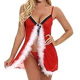 Dorical Weihnachten Dessous Damen Reizwäsche Weihnachts-Serie Dessous Erotik Sexy Unterwäsche Damenwäsche Kleider Spitze Rückenfrei Upgrade Billige Unterwäsche(Rot H,X-Large)