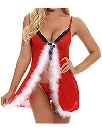 Bealeuy Frauen Weihnachten Sexy Dessous Sling Unterwäsche Red Strumpfhosen Open Back Unterwäsche Spitze Babydoll Set Hot Erotic Chemises Outfit Nachtwäsche Kostüme Nachtwäsche