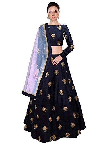 Lovisa Fashion Women's Taffeta Lehanga Choli (appubue _Navy blue_ Free Size)