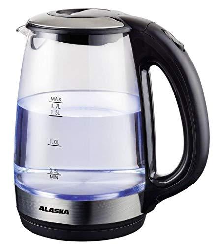 Alaska Wasserkocher Wk 1717 G | 2200 W | Blaue LED-Beleuchtung | 1,7 Liter | Überhitzungs- und Trockengehschutz | Anti-Kalk-Filter | Abschaltautomatik | Wasserstandanzeige | Betriebskontrollleuchte