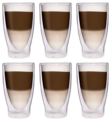 AKTION: 6x 370ml XXL doppelwandige Cocktailgläser / Longdrinkgläser / Eistee-Gläser / Saft- und...