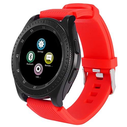 VRTUR Watch (Bluetooth) Smartwatch mit Sportarmband Schrittzähler, Schlafüberwachung,Kamer, Android Wear/Wear OS by Google TFT-LCD Rot