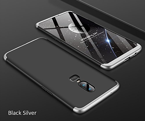 new arrivals 9a4d6 c1c4f J 3 in 1 Double Dip Full Front & Back Protection Electroplated Ultra Slim  Hard Phone Case Cover for Oneplus 6/One Plus 6 Silver Black Silver