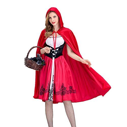 roroz Halloween Rotkäppchen Maskerade Kostüm Damen Cosplay Kostüme Minirock Schickes Kleid Kostüm, Karneval, Nacht-Party, Maskerade, Erwachsene,Red-XXL (Superhelden Kostüm Red)