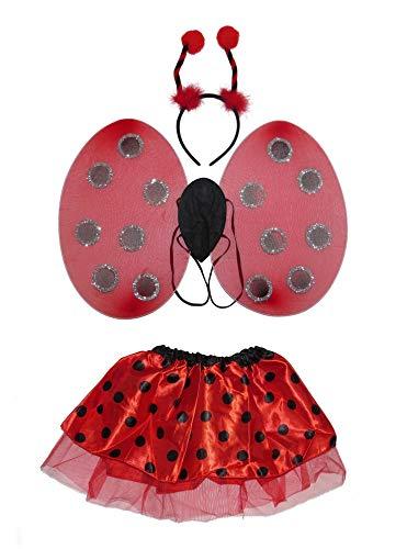 Tutu Kostüm Marienkäfer Kind - Fairy Wings Wunderschönes Marienkäfer-Flügel Boppers und Tutu-Kostüm, Kostüm-Set, Haarband, für Erwachsene und Frauen