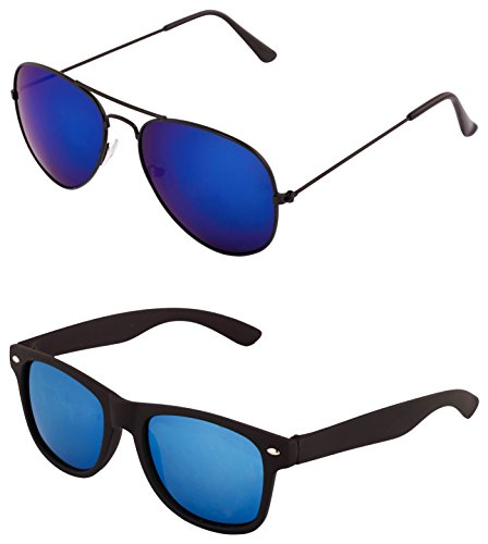ADDON EYEWEAR Uv Protected Aviator-Wayfarer Sunglasses For Men Women Boys And Girls Non Polarized Goggle 2017-(Combo 6 3025+5836|50|Blue Lens)