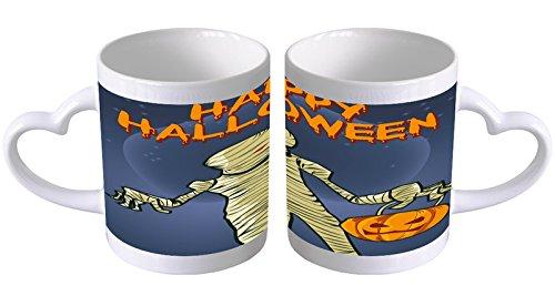 LEotiE SINCE 2004 Kaffeetasse mit Herzgriff Kaffeebecher Becher Tasse Mit Fotodruck Fototasse Nostalgie Happy Halloween Herz Griff