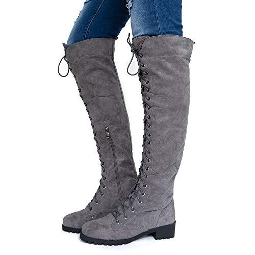 Botas Altas Mujer Botines Largas Serraje Invierno Rodilla Cordones Botas Knee High Boots Planas Tacon...