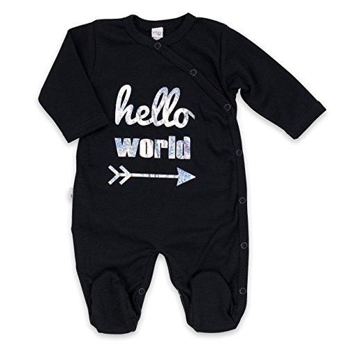 Baby Schlafanzug schwarz silber | Motiv: Hello World | Marke: Koala Baby | Babystrampler mit Silbermotiv für Neugeborene & Kleinkinder | Größe: 3 Monate (62)