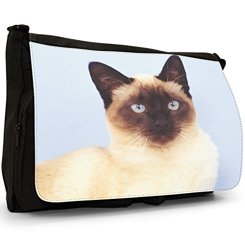 Fancy A Bag Borsa Messenger nero Russian Blue Cat Siamese Cat Close Up