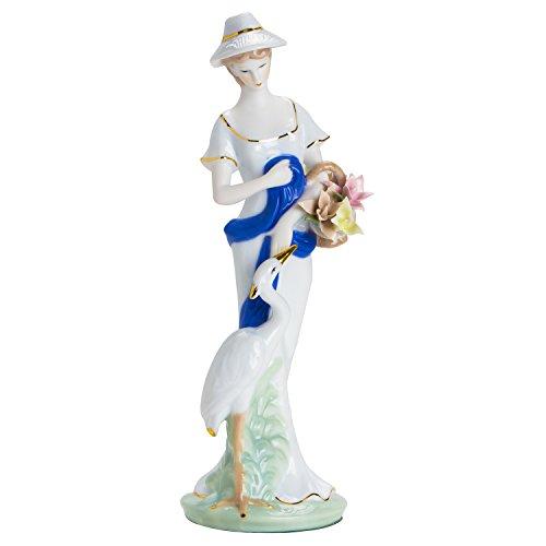 PMI Porzellan Frau mit Reiher 29,5 cm Höhe Porzellanfigur, Sammlerobjekt Handarbeit limitierte Auflage