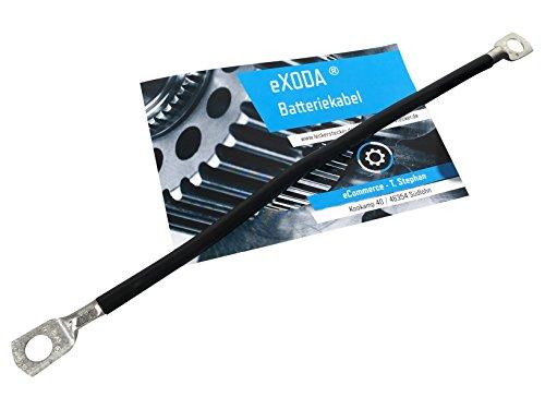 Batteriekabel 14 mm² 35cm Kupfer Stromkabel mit Ringösen M6 schwarz 12V KFZ Kabel von eXODA auch für Ihr Auto Ladegerät