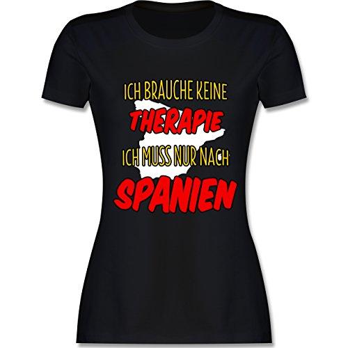 Länder - Ich brauche keine Therapie ich muss nur nach Spanien - tailliertes Premium T-Shirt mit Rundhalsausschnitt für Damen Schwarz