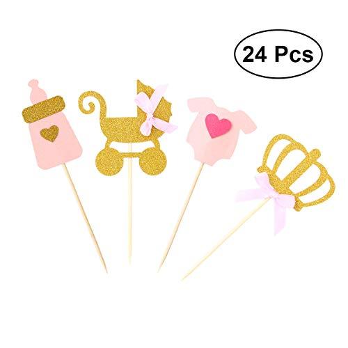 BESTONZON 24pcs Girl Party Theme Cake Cupcake Toppers Dekoration Cake Picks für Kinder Baby Shower Party Geburtstag