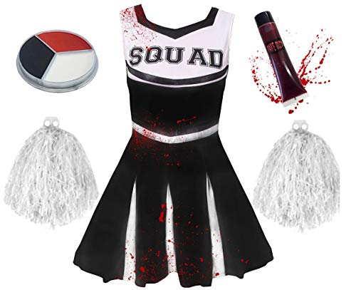 ie Cheerleader KOSTÜM VERKLEIDUNG= 5 Farben+6 GRÖßEN=MIT+OHNE BLUTIGE Strumpfhose=HAT DIE Aufschrift -Squad + Make UP+Pompoms+KUNSTBLUT=OHNE Strumpfhose/SCHWARZES Kleid-MEDIUM ()