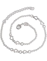 Deals Mart QCOOLJLY Hot Sale Latest Design Heart Silver Color Anklets Bracelet For Women Girl Party Barefoot Anklet...