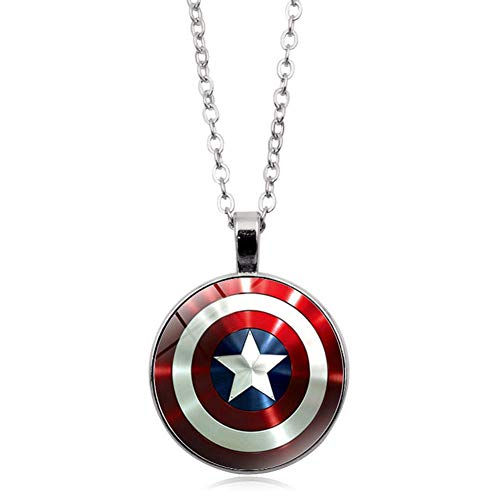 YinXX Captain America Halskette Arc Reactor Glas Cabochon Anhänger Halskette Silber überzogene Schmuckleuchtende Halskette Frauen,Silver