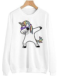 HENGSONG Femme Licorne Imprimé Sweatshirt Manches Longues Col Rond Décontractée Tops à Sweats Mode Pullover