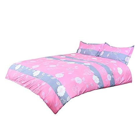 sourcingmap® bed sets,Flowers Pattern Duvet Cover Pillowcase Bedding Set Single Size Pink