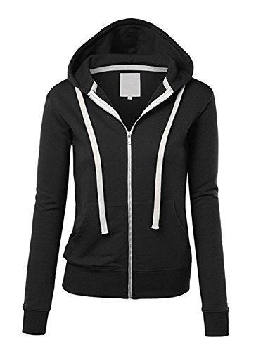 Freestyle Shirts Encapuchonné Fermeture à Glissière Manches Longues Extensible Poche Hoodie Top Sweat Hauts Femme Sportswear Noir