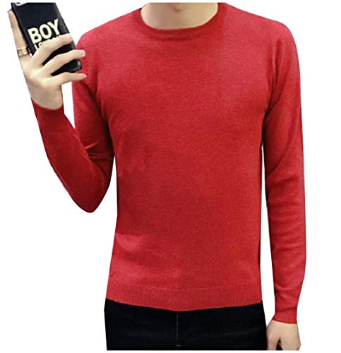 CuteRose Men Regular Fit Pure Colour Long Sleeve Knit Pullover Sweater Red XL Patch-1/4 Zip Pullover