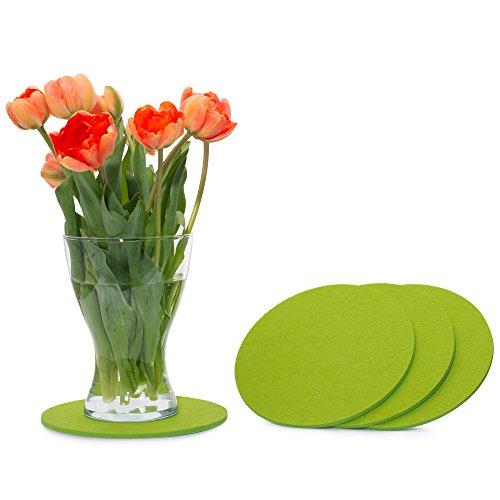 FILU Filzuntersetzer rund 20cm 4er Pack (Farbe wählbar) hellgrün - Untersetzer aus Filz für Tisch und Bar als Glasuntersetzer/Getränkeuntersetzer für Glas und Gläser