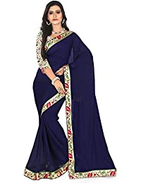 Plain Navy Blue Color Chiffon Saree Lacy Border (Daily And Party Wear)