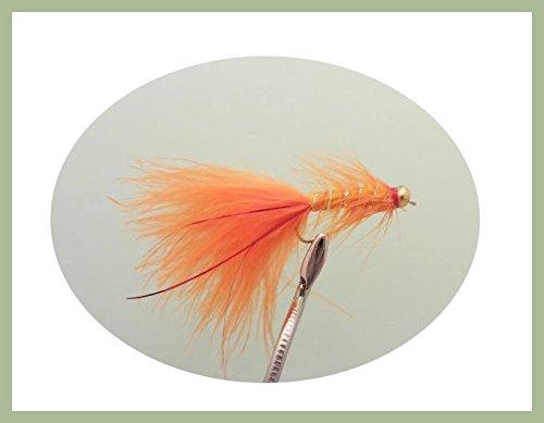 Lot de 12Goldhead Orange Rouge flash Demoiselle Leurres Pêche mouches. Taille 10