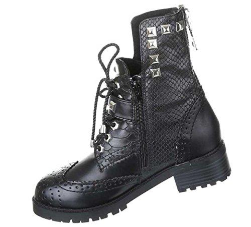 Gothic Stiefeletten Damen Schuhe Stiefel Punker Boots Warm Gefüttert Schwarz 36 37 38 39 40 41 Nr 6 Schwarz