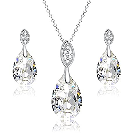 925 Sterling Silver Teardrop Jewellery Set - Drop Earrings and Pendant Necklace - With 18 inch Silver Rolo Chain in Gift Box - Ideal Valentine/Anniversary/Birthday Gift for Her/Girls/Women